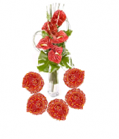 Oriental Flame with Floral Designed Earthen Diyas Gifts toOjhar, Combinations to Ojhar same day delivery