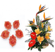 Floral Designed Earthen Diyas and  Exotic Flower arrangement Gifts toAmbad, Combinations to Ambad same day delivery