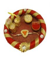 Elegant Rakhi Thali Gifts toBasavanagudi, flowers and rakhi to Basavanagudi same day delivery