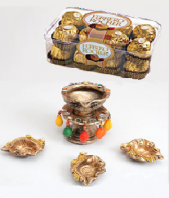 Diya Stand with Diyas and Ferrero Rocher 16 pc Gifts toAmbad, Combinations to Ambad same day delivery