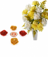 Blooming Friendship with Colorful Rose Diyas Gifts toOjhar, Combinations to Ojhar same day delivery