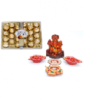Precious Diya and Lord Ganesha Set with Ferrero Rocher 24 pc Gifts toAmbad, Combinations to Ambad same day delivery