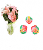 Pink Paradise with Colorful and Artistic Diya Set Gifts toAmbad, Combinations to Ambad same day delivery