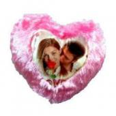 Photo Cushion with Pillow Pink in Heart Symbol Gifts toOjhar, personal gifts to Ojhar same day delivery
