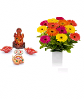 Precious Diya and Lord Ganesha Set with Cherry Day Gifts toAmbad, Combinations to Ambad same day delivery