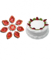 Ethnic Diyas and Vanilla Cake 1kg cake Gifts toAmbad, Combinations to Ambad same day delivery