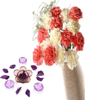 Floral Design Candles with Pink and White Carnations Gifts toOjhar, Combinations to Ojhar same day delivery