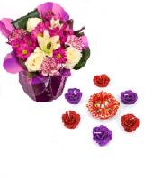 Purple Delight and Vibrant Rose Diyas Gifts toAmbad, Combinations to Ambad same day delivery