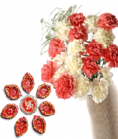 Ethnic Diyas and Pink and White Carnations Gifts toAmbad, Combinations to Ambad same day delivery