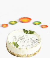 Orange Green Colored Diya Set and Vanilla Cake small for Diwali Occation Gifts toOjhar, Combinations to Ojhar same day delivery