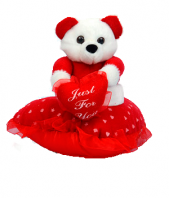 Small Teddy On Heart Pillow Gifts toPort Blair, teddy to Port Blair same day delivery