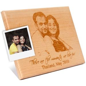 Wooden Engraved Plaque For Couple Portrait To India Send