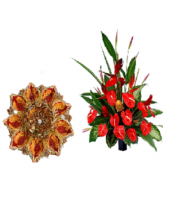Attractive Diya Thali with Red flower pot Gifts toOjhar, Combinations to Ojhar same day delivery