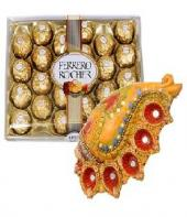 Conch Shaped Diya Set with Sweet Ferrero Rocher 24 pc Gifts toOjhar, Combinations to Ojhar same day delivery