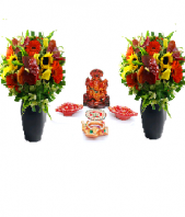 Precious Diya and Ganesha Set with 2 Basket of Gerbers Gifts toOjhar, Combinations to Ojhar same day delivery