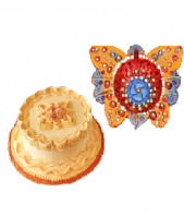 Butterscotch Cake with Butterfly Shaped Diya Gifts toAmbad, Combinations to Ambad same day delivery