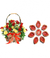 Ethnic Diyas and 24 Yellow and Red Roses Gifts toOjhar, Combinations to Ojhar same day delivery