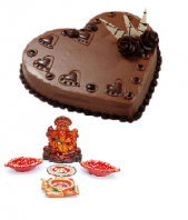 Ganpathi Idol and Diyas with Heart Shaped 1 Kg. Chocolate Truffle Cake Gifts toAmbad, Combinations to Ambad same day delivery