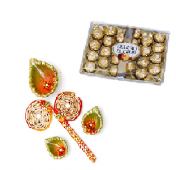 Ferrero Rocher 24 pc with Rangoli and Diya Set Gifts toOjhar, Combinations to Ojhar same day delivery