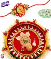 Rakhi Thali Gifts toBasavanagudi, flowers and rakhi to Basavanagudi same day delivery