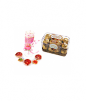 Ferrero with Chandelier Candle and Diyas Gifts toOjhar, Combinations to Ojhar same day delivery