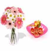Pink and white gerberas and Beautiful Earthen Diya Set Gifts toOjhar, Combinations to Ojhar same day delivery