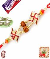 Swastik Rakhi Gifts toHAL, flowers and rakhi to HAL same day delivery