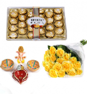 Ferrero Rocher and Divine Diyas with Sorbet Gifts toOjhar, Combinations to Ojhar same day delivery