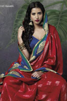 Red georgette saree With Blue Border and pita embroidery Gifts toRT Nagar, sarees to RT Nagar same day delivery