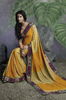 Shaded Yellow Georgette Saree with printed magenta border Gifts toHyderabad, sarees to Hyderabad same day delivery