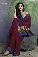 Printed Maroon Georgette saree With Blue Border Gifts toAshok Nagar, sarees to Ashok Nagar same day delivery