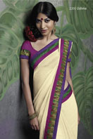 Cream Georgette Saree with fancy embroidery border Gifts toHyderabad, sarees to Hyderabad same day delivery