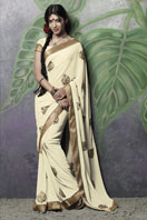 Beige georgette saree with zari embroidery and border Gifts toHyderabad, sarees to Hyderabad same day delivery