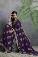 Stylish purple embroidery georgette saree Gifts toHyderabad, sarees to Hyderabad same day delivery