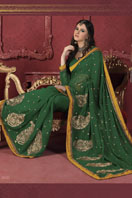 Green Georgette Saree Gifts toCox Town, sarees to Cox Town same day delivery