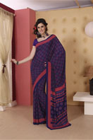 Printed purple georgette saree Gifts toBenson Town, sarees to Benson Town same day delivery