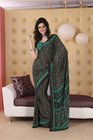 Grey and green printed georgette saree.  Gifts toRT Nagar, sarees to RT Nagar same day delivery