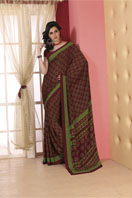 Printed maroon georgette saree Gifts toChurch Street, sarees to Church Street same day delivery