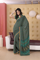 Elegant green printed georgette saree  Gifts toChurch Street, sarees to Church Street same day delivery
