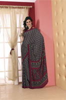 Cachy navy blue printed georgette saree Gifts toChurch Street, sarees to Church Street same day delivery