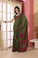 Trendy green printed georgette saree Gifts toBenson Town, sarees to Benson Town same day delivery