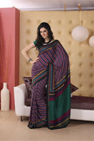 Fancy purple striped georgette saree, Gifts toBenson Town, sarees to Benson Town same day delivery