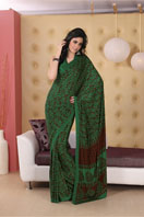 Bold bottle green printed georgette saree Gifts toRT Nagar, sarees to RT Nagar same day delivery
