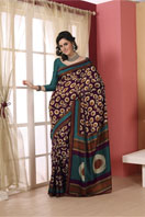 Purple printed tussar with chakra design Gifts toChurch Street, sarees to Church Street same day delivery